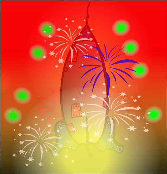 Dessin chanson Madame Fusée, la fusée décolle dans un feu d'artifice, catégorie Chanson pour enfants Madame Fusée