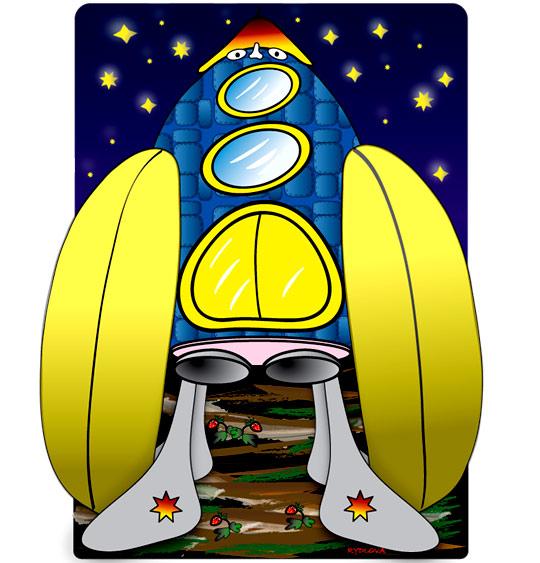 Dessin Madame Fusée, la fusée énorme, catégorie Chanson pour enfants Madame Fusée