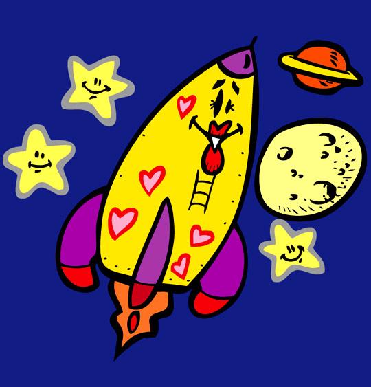 Dessin Madame Fusée, la fusée vers les étoiles, catégorie Chanson pour enfants Madame Fusée