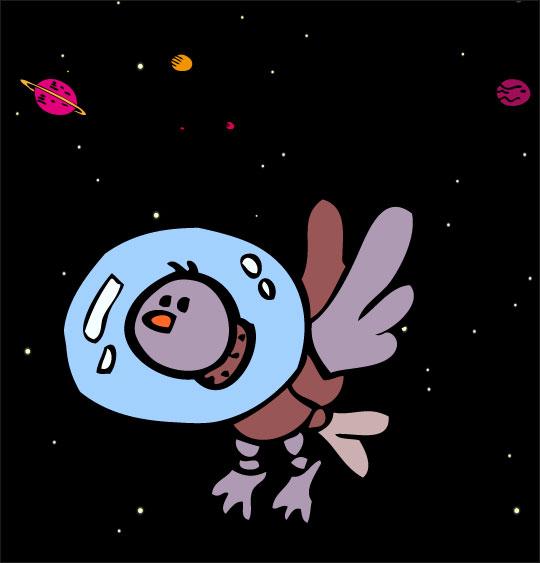 Dessin chanson Madame Fusée, un oiseau dans l'espace avec son scaphandre, catégorie Chanson pour enfants Madame Fusée