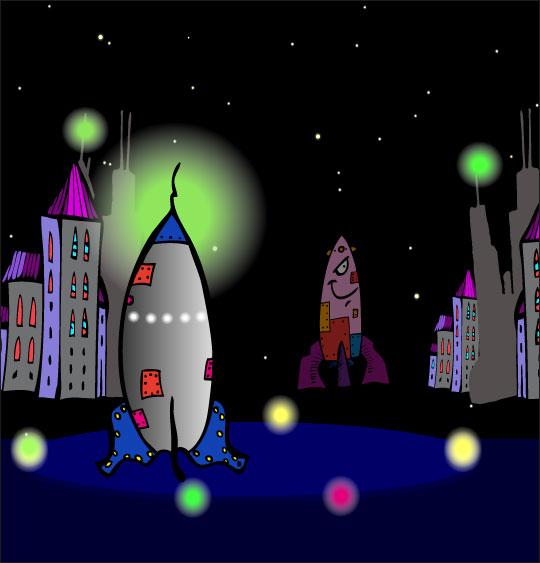 Dessin chanson Madame Fusée, la fusée est prête au décollage, catégorie Chanson pour enfants Madame Fusée