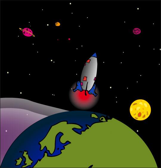 Dessin chanson Madame Fusée, la fusée navigue de la terre à la lune, catégorie Chanson pour enfants Madame Fusée