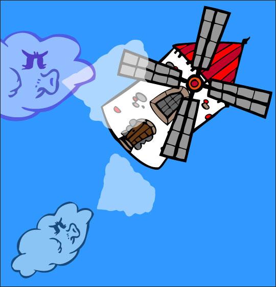 Dessin chanson Meunier tu dors, le moulin s'est envolé dans le ciel, thème Moulin