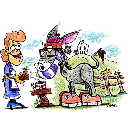 Dessin Mon âne, l'âne vient boire son chocolat, catégorie Chanson pour enfants Mon âne