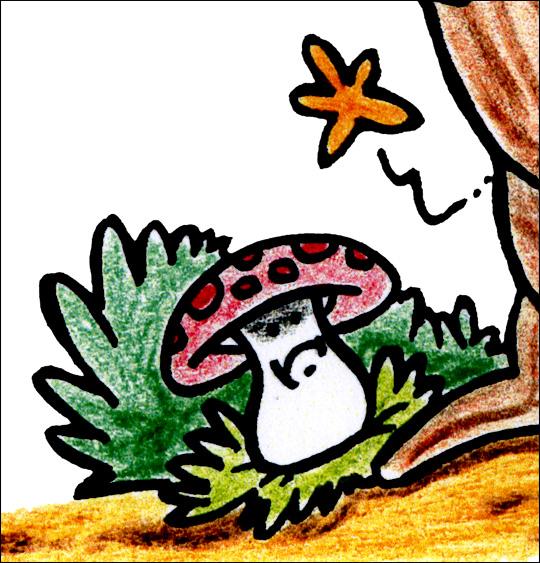 Dessin Petit moustique, le champignon au pied de l'arbre, catégorie Conte Petit moustique