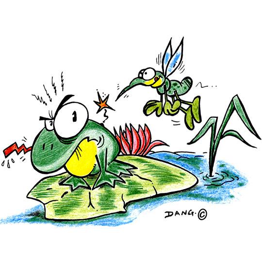 Dessin Petit moustique pique le crapaud, catégorie Chanson pour enfants Petit moustique