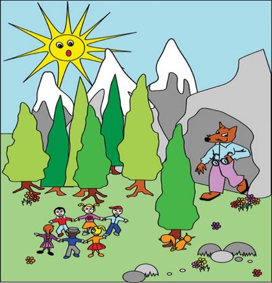 Dessin Promenons-nous dans les bois par Emareva, catégorie Chanson pour enfants Promenons-nous dans les bois