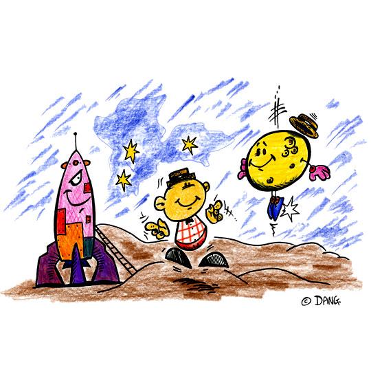 Dessin Swing la Lune, la fusée sur la lune, catégorie Chanson pour enfants Swing la Lune
