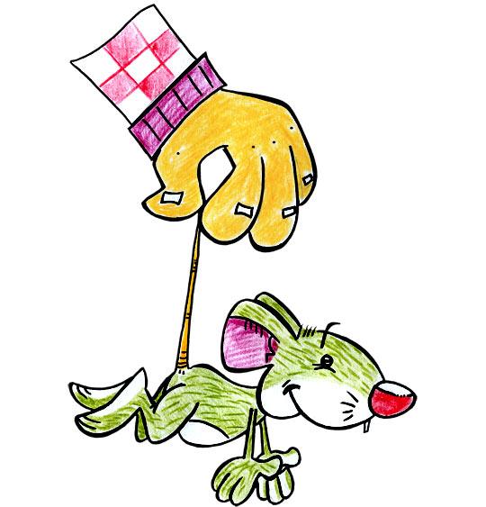 Dessin Une souris verte, la souris verte attrapée par la queue, catégorie Chanson pour enfants Une souris verte