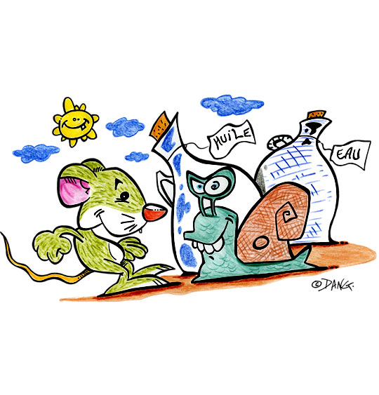 Dessin Une souris verte, la souris verte et l'escargot, catégorie Chanson pour enfants Une souris verte