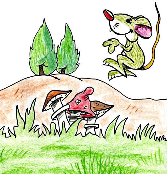 Dessin Une souris verte, la souris verte qui court dans l'herbe, thème Souris