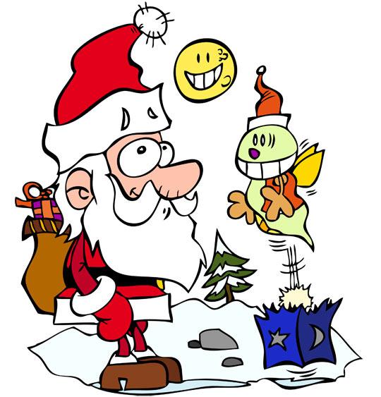 Dessin de Noël, le père Noël et la luciole, thème Lune