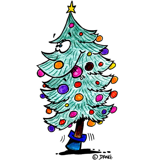 Dessin de Noël, le sapin de Noël qui tire la langue, thème Boules de Noël