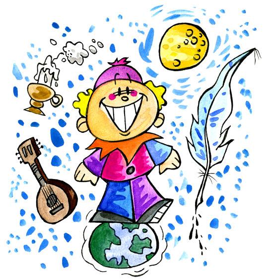 Dessin Au Clair de la Lune, Pierrot les pieds sur terre, la tête dans la lune, catégorie Chanson pour enfants Au Clair de la Lune