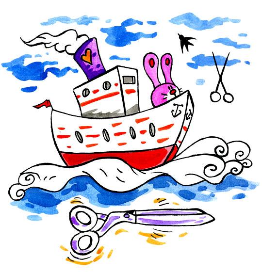 Dessin comptine bateau ciseaux dessin comptine bateau ciseaux le lapin sur le cargo - Dessin bateau enfant ...