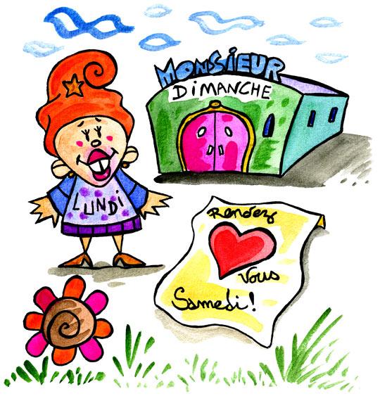 Dessin Bonjour Madame Lundi, Madame Lundi veut aller à la fête samedi, thème Batiments divers