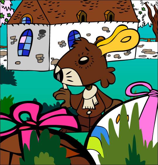 Dessin comptine Boum bing bang, c'est Pâques, un lapin de Pâques se cache, thème Pâques