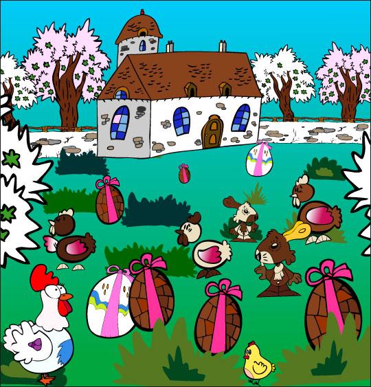 Dessin comptine Boum bing bang, c'est Pâques, des oeufs en chocolat, des poules, des lapins, thème Oeufs