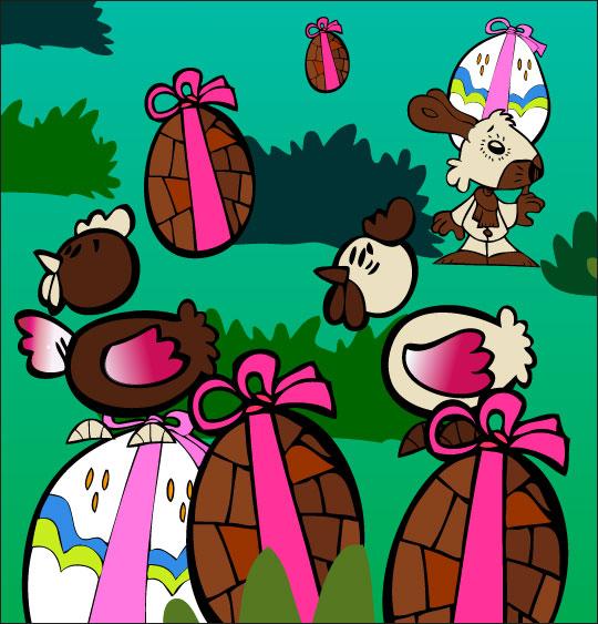 Dessin comptine Boum bing bang, c'est Pâques, les  poules, les oeufs, le lapin dans le jardin, thème Poule