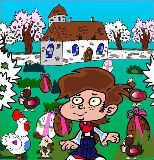 Dessin comptine Boum bing bang, c'est Pâques, le jardin rempli d'oeufs de Pâques, thème Poule