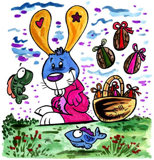 Dessin Ce matin dans mon jardin des oeufs en chocolats, catégorie Comptine Ce matin dans mon jardin