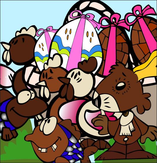 Dessin comptine Ce matin dans mon jardin, un panier plein de chocolat pour Pâques, thème Oeufs