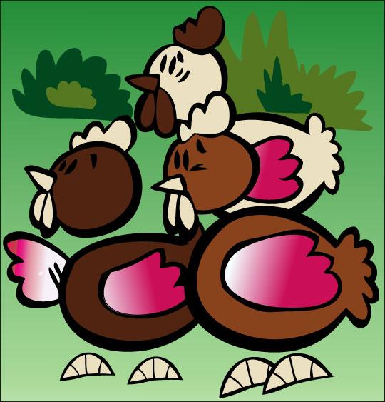 Dessin comptine Ce matin dans mon jardin, des poules en chocolat pour Pâques, catégorie Comptine Ce matin dans mon jardin