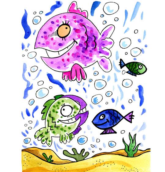 Dessin Cinq petits poissons dans l'eau, thème Poisson