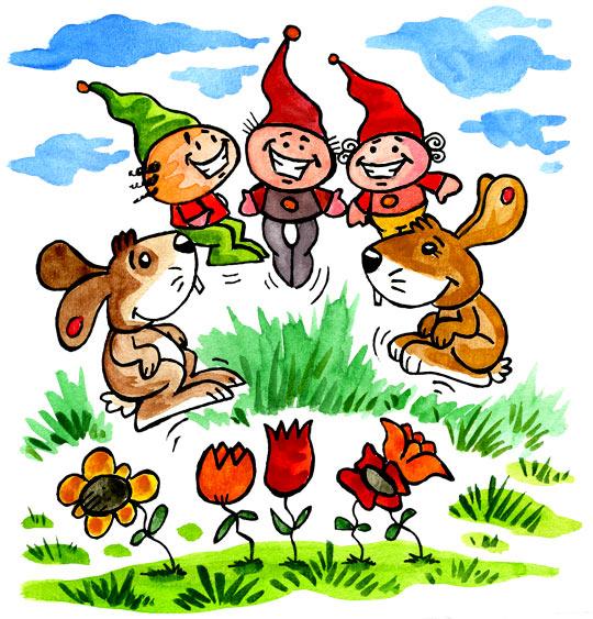 Dessin Deux petits lapins, deux lapins dansent avec trois lutins, catégorie Comptine Deux petits lapins