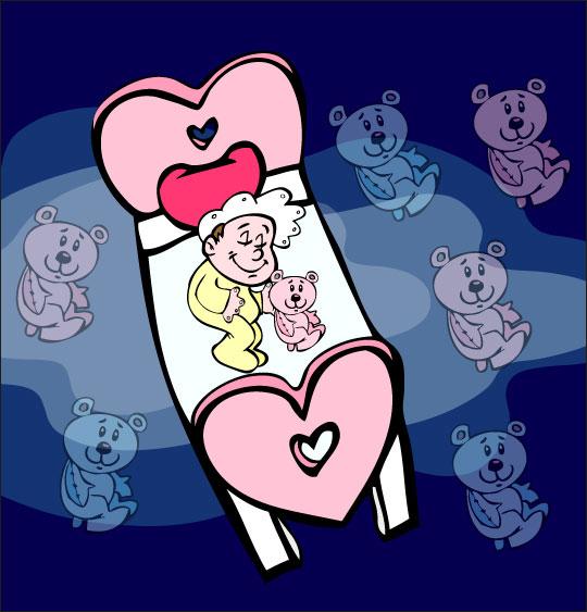 Dessin comptine Dodo, l'enfant do, le bébé rêve avec son doudou nounours, thème Ours