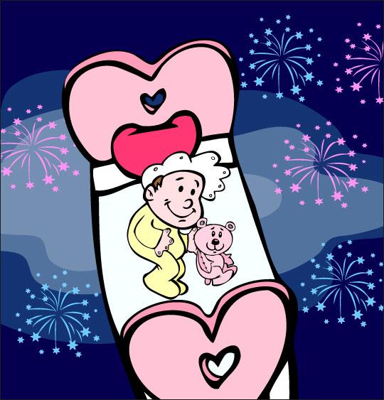 Dessin comptine Dodo, l'enfant do, un bébé dans le ciel au milieu des feux d'artifices, thème Ours