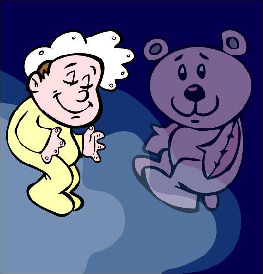 Dessin comptine Dodo, l'enfant do, un bébé dans le ciel avec son nounours, thème Ours