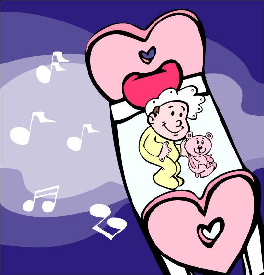 Dessin comptine Dodo, l'enfant do, un bébé rêve dans le ciel en écoutant de la musique, thème Ours