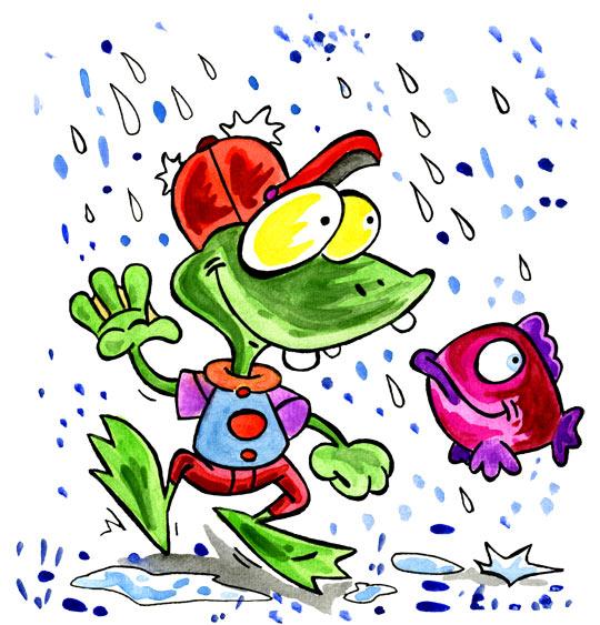 Dessin Il pleut, il mouille, c'est la fête à la grenouille, une grenouille et un poisson, thème Grenouille