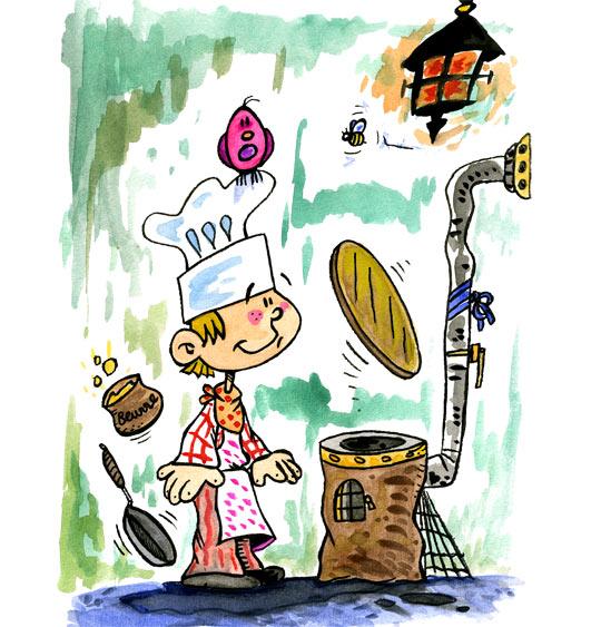 Dessin J'aime la galette, un patissier, thème Ustensiles de cuisine