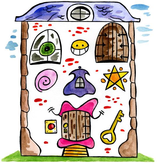 Dessin Je fais le tour de la maison ! Une maison vraiment bizarre., catégorie Comptine Je fais le tour de la maison !