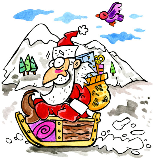 Dessin L'as-tu reconnu ? C'est le père Noël, le père Noël fait de la luge, catégorie Chanson de Noël Petit Papa Noël