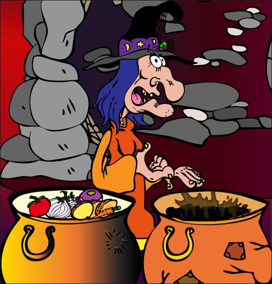 Dessin La soupe à la sorcière, 2 marmites, 2 soupes, choisissez, thème Ustensiles de cuisine