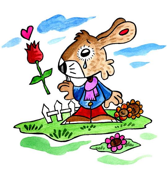 Dessin Mon petit lapin a bien du chagrin, une larme à l'oeil, catégorie Comptine Mon petit Lapin a bien du chagrin