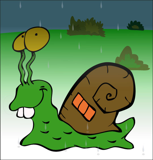 Dessin Petit escargot, un escargot et sa maison sur le dos, thème Escargot