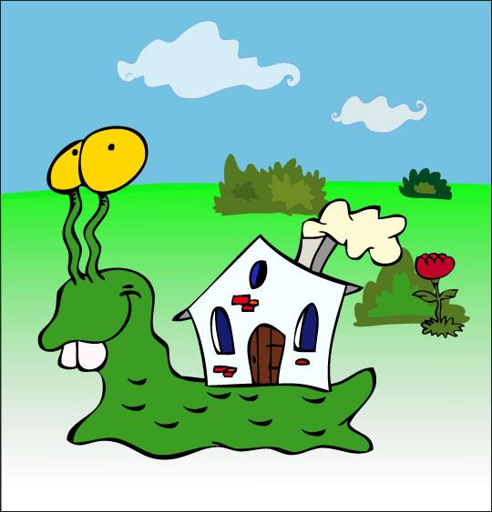 Dessin Petit escargot, un escargot et sa maison sur le dos, catégorie Comptine Petit escargot