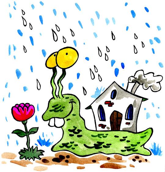 Dessin Petit escargot, un escargot sous la pluie, catégorie Comptine Petit escargot