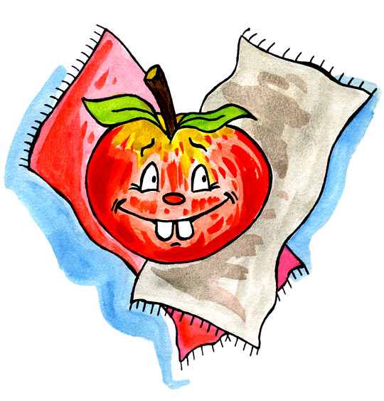 Dessin Pomme de reinette et pomme d'api, une belle pomme rouge, catégorie Comptine Pomme de reinette et pomme d'api