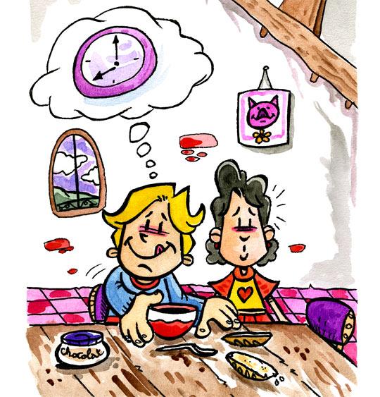 Dessin Tic tac, quelle heure est-il ? J'ai faim, thème Chocolat