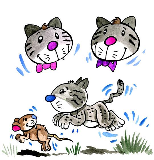Dessin Trois chats sur le tapis, un chat bondit sur une souris, thème Chat