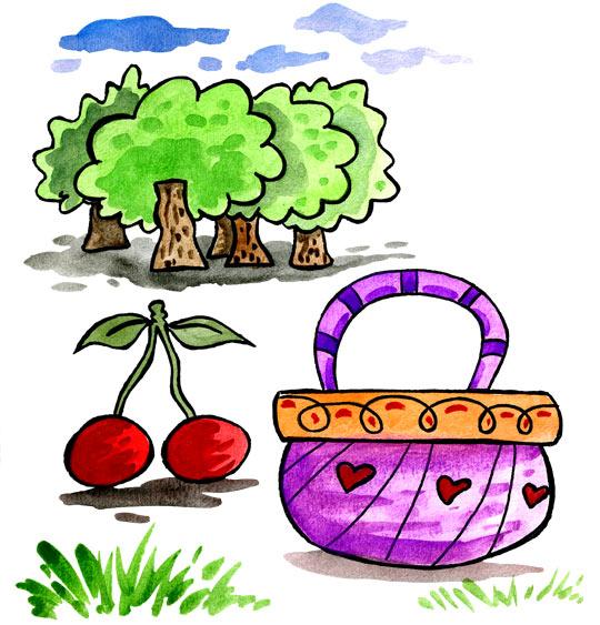 Dessin Un, deux, trois, nous irons au bois, le panier et les cerises, catégorie Comptine Un, deux, trois, nous irons au bois