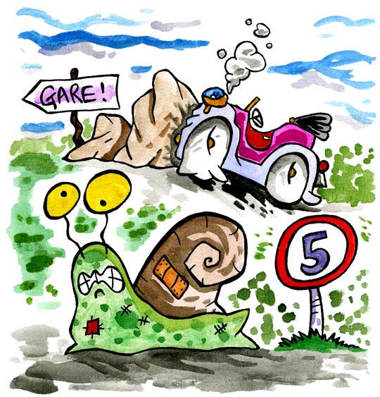 Dessin Un escargot qui partait en vacances, le fou, thème Escargot