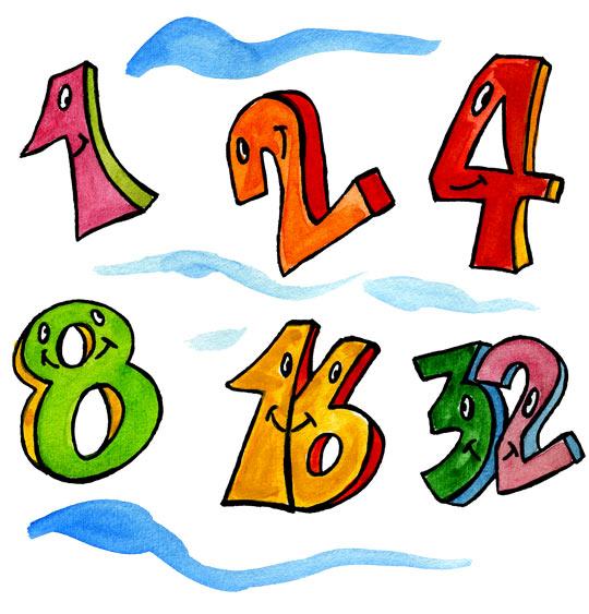 Dessin Un et un deux, c'est heureux, 1, 2, 4, 8, 16, 32, catégorie Comptine Un et un deux, c'est heureux