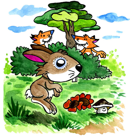 Dessin Un petit lapin, deux renards observent Petit Lapin, thème Renard