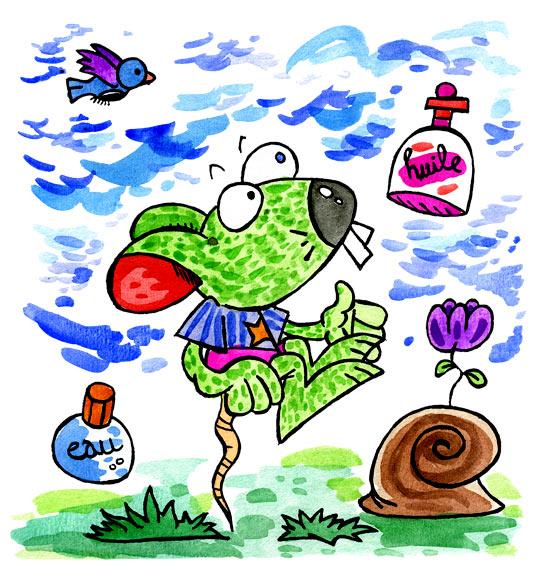 Dessin Une souris verte, de l'huile, de l'eau et un escargot, thème Souris